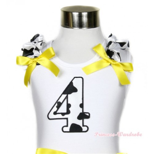 White Tank Top With 4th Milk Cow Birthday Number Print with Milk Cow Ruffles & Yellow Bow TB393