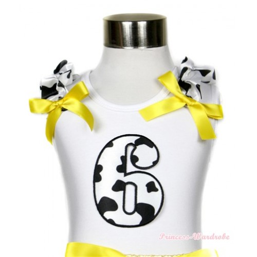 White Tank Top With 6th Milk Cow Birthday Number Print with Milk Cow Ruffles & Yellow Bow TB395
