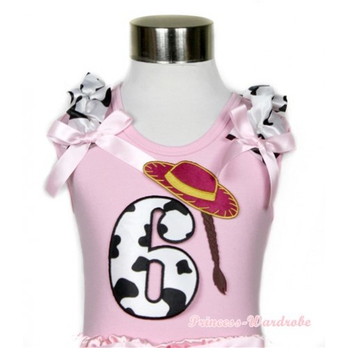 Light Pink Tank Top With 6th Cowgirl Hat Braid Milk Cow Birthday Number Print With Milk Cow Ruffles & Light Pink Bows TP56
