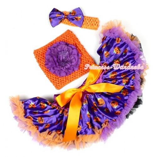 Halloween Dark Purple Orange Black Pumpkin Baby Pettiskirt,Dark Purple Peony Orange Crochet Tube Top,Orange Headband Dark Purple Pumpkin Satin Bow 3PC Set CT617