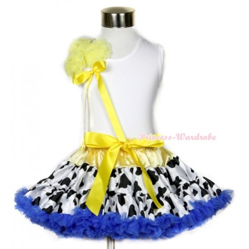 White Tank Top With a Bunch of Yellow Rosettes& Yellow Bow With Yellow Royal Blue Milk Cow Pettiskirt MG636