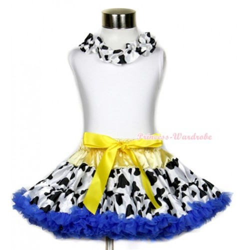White Tank Top With Black White Milk Cow Satin Lacing With Yellow Royal Blue Milk Cow Pettiskirt MG638