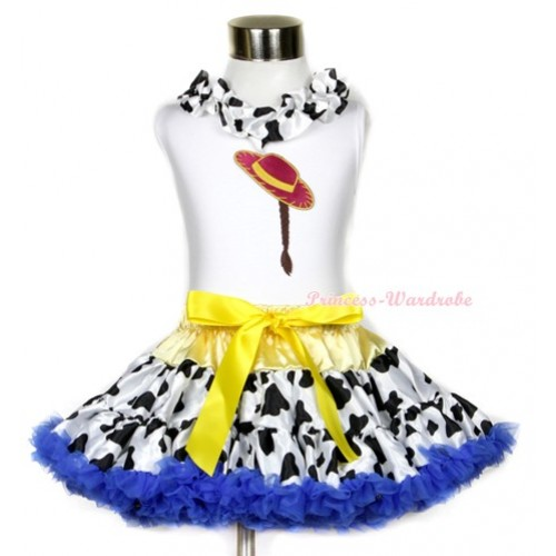 White Tank Top With Milk Cow Satin Lacing & Cowgirl Hat Braid Print With Yellow Royal Blue Milk Cow Pettiskirt MG639