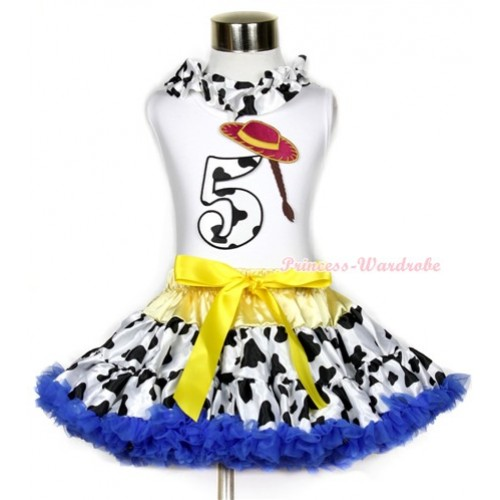 White Tank Top With Milk Cow Satin Lacing & 5th Cowgirl Hat Braid Milk Cow Birthday Number Print With Yellow Royal Blue Milk Cow Pettiskirt MG644