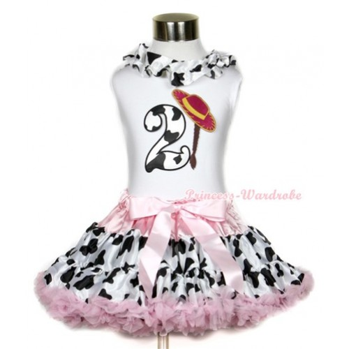 White Tank Top With Milk Cow Satin Lacing & 2nd Cowgirl Hat Braid Milk Cow Birthday Number Print With Light Pink Milk Cow Pettiskirt MG647