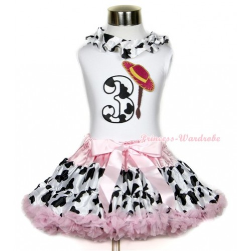 White Tank Top With Milk Cow Satin Lacing & 3rd Cowgirl Hat Braid Milk Cow Birthday Number Print With Light Pink Milk Cow Pettiskirt MG648