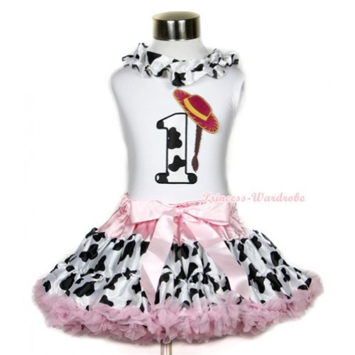 White Tank Top With Milk Cow Satin Lacing & 1st Cowgirl Hat Braid Milk Cow Birthday Number Print With Light Pink Milk Cow Pettiskirt MG646