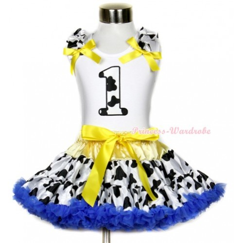 White Tank Top with 1st Milk Cow Birthday Number Print with Milk Cow Ruffles & Yellow Bow & Yellow Royal Blue Milk Cow Pettiskirt MG652