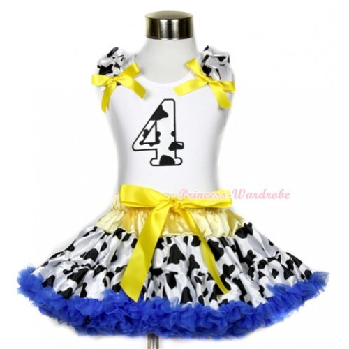 White Tank Top with 4th Milk Cow Birthday Number Print with Milk Cow Ruffles & Yellow Bow & Yellow Royal Blue Milk Cow Pettiskirt MG655