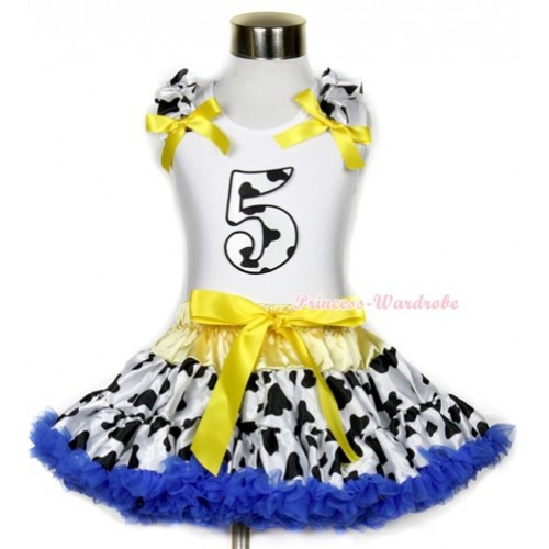 White Tank Top with 5th Milk Cow Birthday Number Print with Milk Cow Ruffles & Yellow Bow & Yellow Royal Blue Milk Cow Pettiskirt MG656