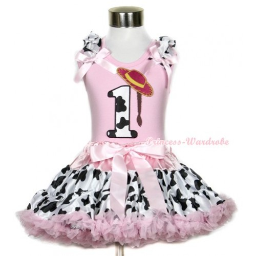 Light Pink Tank Top with 1st Cowgirl Hat Braid Milk Cow Birthday Number Print with Milk Cow Ruffles & Light Pink Bow With Light Pink Milk Cow Pettiskirt M323