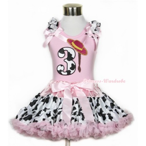 Light Pink Tank Top with 3rd Cowgirl Hat Braid Milk Cow Birthday Number Print with Milk Cow Ruffles & Light Pink Bow With Light Pink Milk Cow Pettiskirt M325