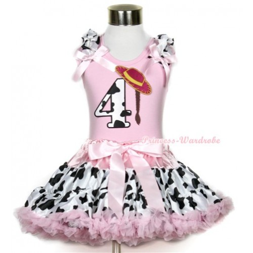 Light Pink Tank Top with 4th Cowgirl Hat Braid Milk Cow Birthday Number Print with Milk Cow Ruffles & Light Pink Bow With Light Pink Milk Cow Pettiskirt M327