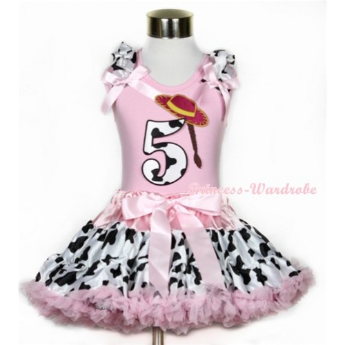 Light Pink Tank Top with 5th Cowgirl Hat Braid Milk Cow Birthday Number Print with Milk Cow Ruffles & Light Pink Bow With Light Pink Milk Cow Pettiskirt M328