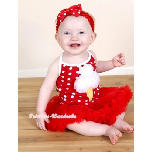 Minnie Polka Dots Baby Halter Jumpsuit Red Pettiskirt With White Rosettes Ice Cream Print With Red Headband Red White Polka Dots Ribbon Bow JS1220