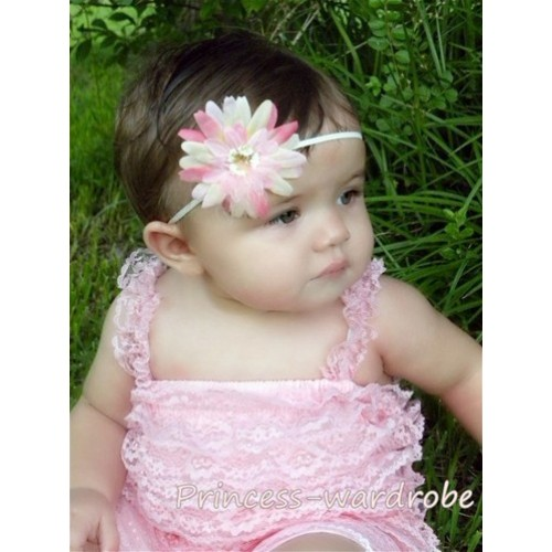 Light Pink Lace Ruffles Petti Rompers with Straps LR15