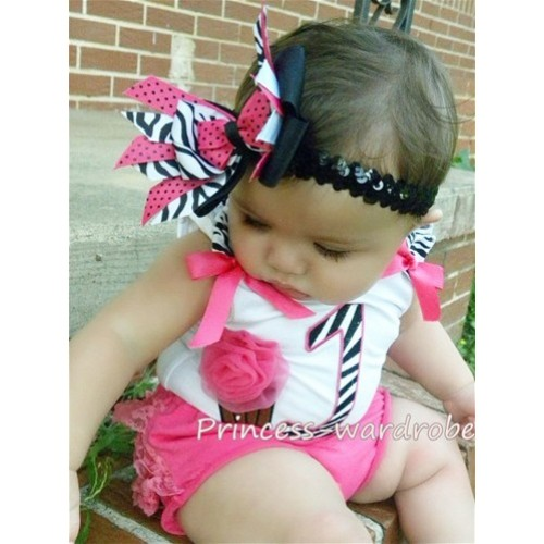 1st Birthday White Tank Top with Hot Pink Zebra Print number and Hot Pink Rosettes Cupcake and Hot Pink Ribbon, Zebra Ruffles TM88