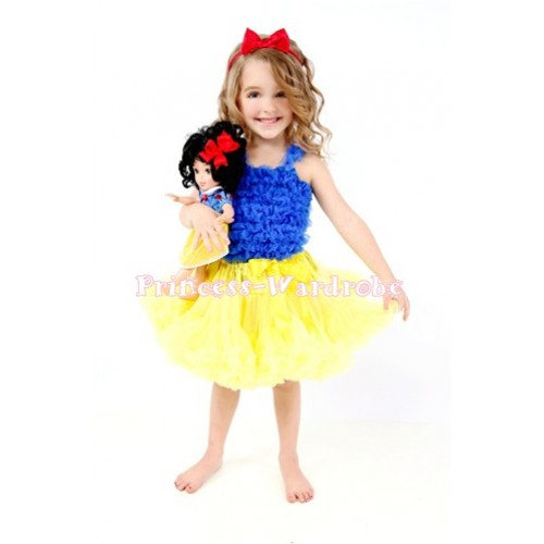 Yellow Pettiskirt Matching Royal Blue Ruffles Tank Top Snow White set MR96