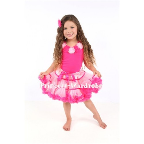 Light Pink Hot Pink Trim Pettiskirt with matching Hot pink Tank Tops with Light pink and Hot Pink Rosettes mh19