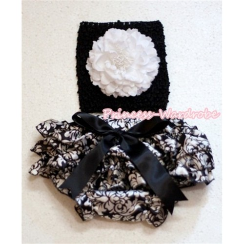 Black Crochet Tube Top With White Peony,Black Giant Bow Damask Bloomer CT232