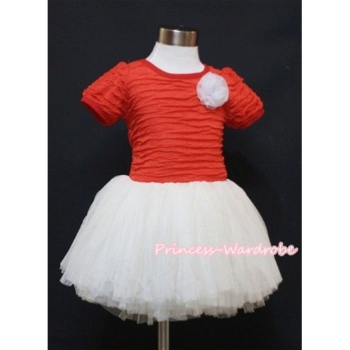 Hot Red and White with White Rose Crepe Paper Party Dress PD014