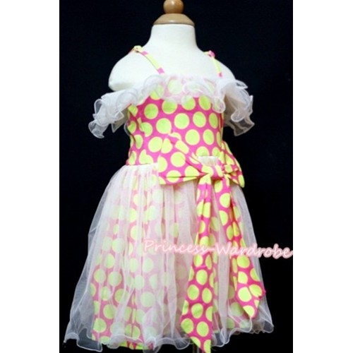 Fluorescent Yellow dots Gown Pageant Party  Dress PD016