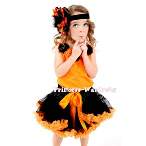 Black Orange Pettiskirt with Matching Black and Orange Rosettes Orange Tank Top MN12