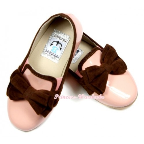 Light Pink Chocolate Brown Bow Patent Leather Slip On Deck Boat Girl Shoes SE021