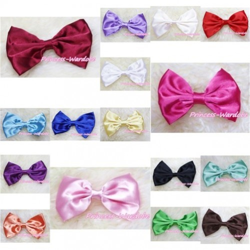 Optional Solid Color Satin Bow Hair Clip H230