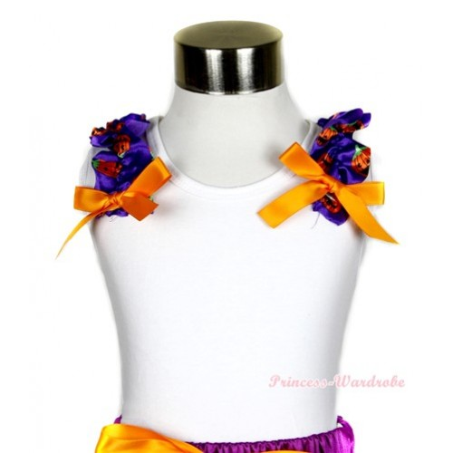White Tank Top with Dark Purple Pumpkin Ruffles and Orange Bow T495