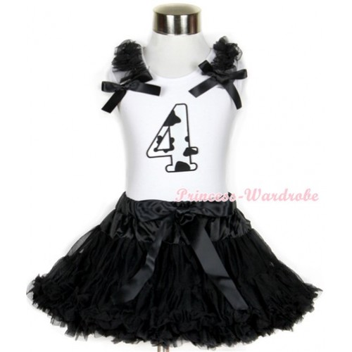 Halloween White Tank Top with 4th Milk Cow Birthday Number Print with Black Ruffles & Black Bow & Black Pettiskirt MG684