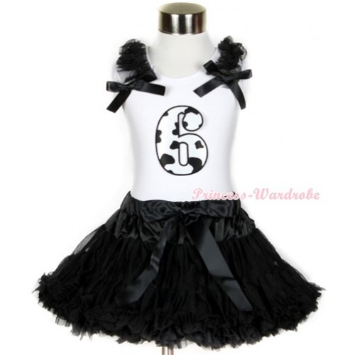 Halloween White Tank Top with 6th Milk Cow Birthday Number Print with Black Ruffles & Black Bow & Black Pettiskirt MG686