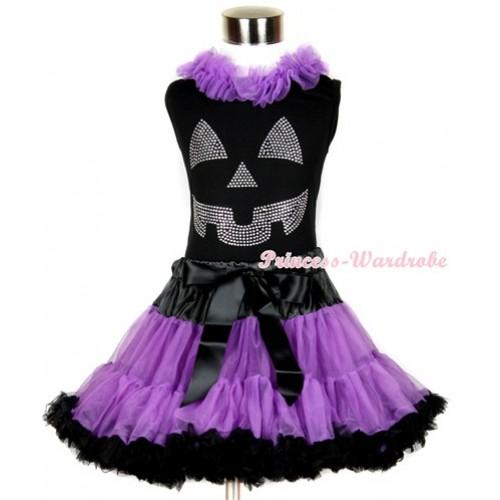 Halloween Black Tank Top with Sparkle Crystal Glitter Pumpkin Print with Dark Purple Chiffon Lacing & Black Dark Purple Pettiskirt MW234