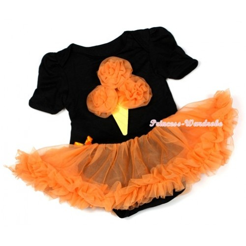 Halloween Black Baby Jumpsuit Orange Pettiskirt with Orange Rosettes Ice Cream Print JS1285