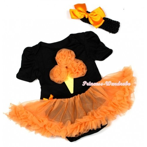 Halloween Black Baby Jumpsuit Orange Pettiskirt With Orange Rosettes Ice Cream Print With Black Headband Orange Silk Bow JS1297