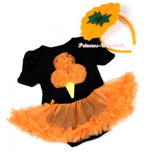 Halloween Black Baby Jumpsuit Orange Pettiskirt With Orange Rosettes Ice Cream Print With Pumpkin Costume JS1313