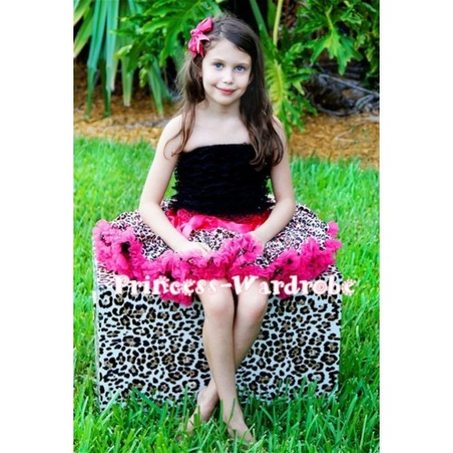 Black Lace Tube Top with matching Hot Pink Leopard Pettiskirt TE16