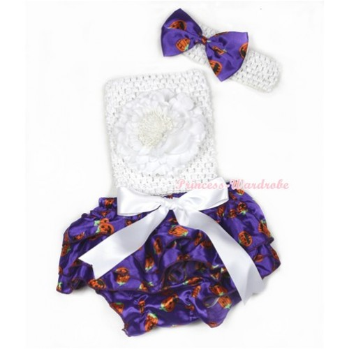 Halloween White Big Bow Dark Purple Pumpkin Satin Bloomer ,White Peony White Crochet Tube Top,White Headband Dark Purple Pumpkin Satin Bow 3PC Set CT620