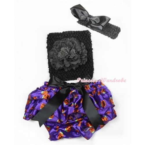 Halloween Black Big Bow Dark Purple Pumpkin Satin Bloomer ,Black Peony Black Crochet Tube Top,Black Headband Black Silk Bow 3PC Set CT621