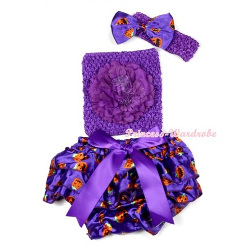 Halloween Dark Purple Big Bow Dark Purple Pumpkin Satin Bloomer ,Dark Purple Peony Dark Purple Crochet Tube Top,Dark Purple Headband Dark Purple Pumpkin Satin Bow 3PC Set CT623