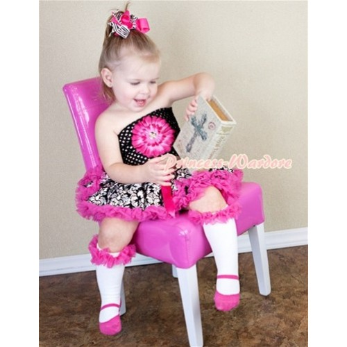 Hot Pink Damask Baby Pettiskirt, Hot Pink Flower Black Crochet Tube Top CT241
