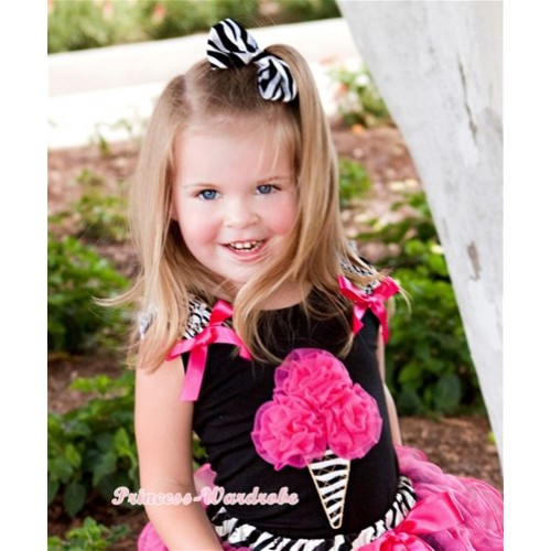Black Tank Tops with Hot Pink Rosettes Zebra Ice Cream Print with Zebra Ruffles & Hot Pink Bow TB424