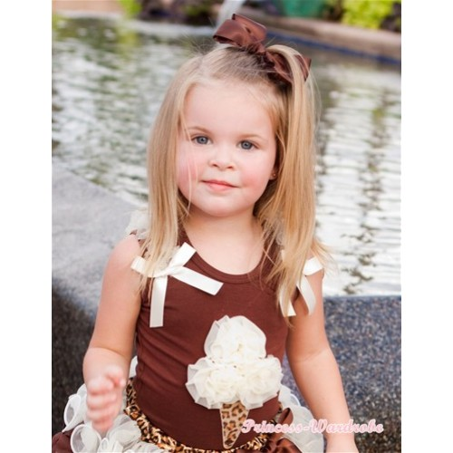 Brown Tank Top with Cream White Leopard Ice Cream Print with Cream White Ruffles & Cream White Bow TM219