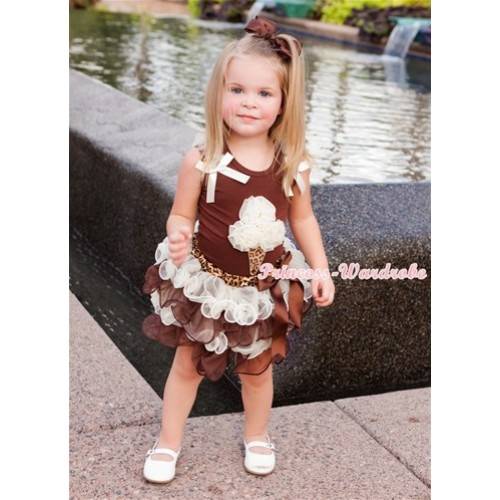 Brown Baby Pettitop with Cream White Ruffles & Cream White Bow & Cream White Rosettes Leopard Ice Cream Print with Brown Bow Leopard Waist Cream White Brown Petal Baby Pettiskirt BG89