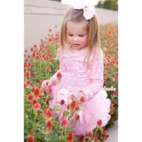 Light Pink White Dots Long Sleeve Top with Light Pink Chiffon Lacing & Princess Print & Light Pink Bow Light Pink Petal Pettiskirt MW243