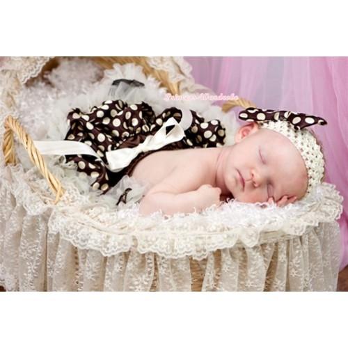 Cream White Brown Gold Polka Dots Newborn Pettiskirt N123
