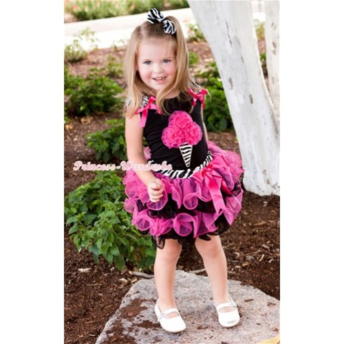 Black Baby Pettitop with Zebra Ruffles & Hot Pink Bow & Hot Pink Rosettes Zebra Ice Cream Print with Hot Pink Bow Zebra Waist Hot Pink Black Petal Baby Pettiskirt NG1233