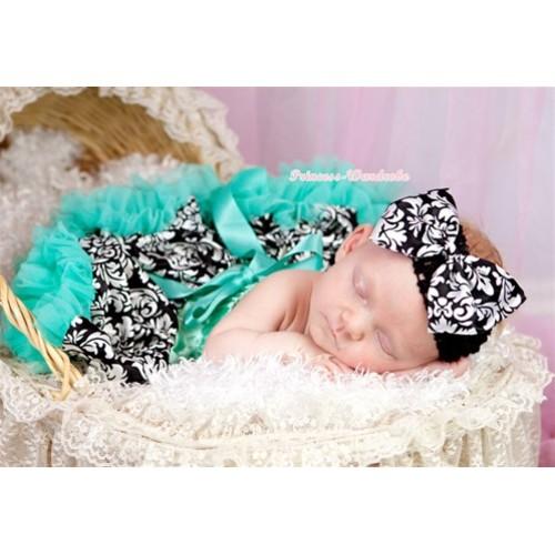 Aqua Blue Damask Newborn Pettiskirt N125