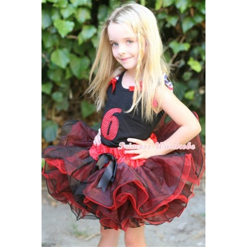 Black Tank Top With Red White Blue Striped Ruffles & Red Bows & 6th Sparkle Red Birthday Number Print With Black Bow Red Black 8 Layers Pettiskirt MW244
