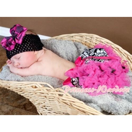 Hot Pink Damask New Born Pettiskirt N085